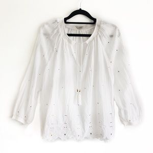 Lucky Brand White Peasant Top Embroidered Blouse L